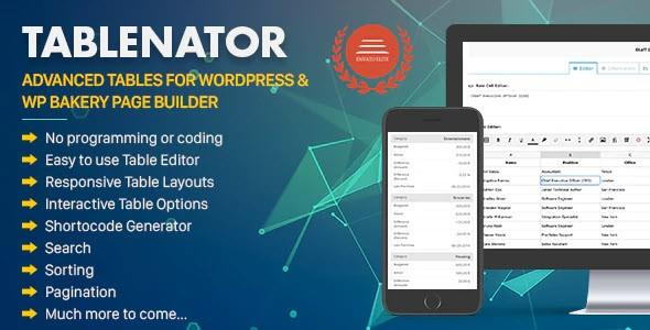 Tablenator - Advanced Tables for WordPress & WP Bakery Page Builder