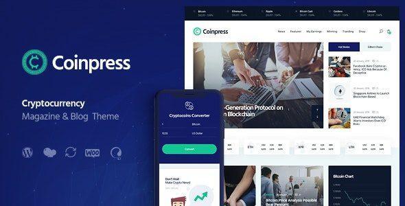 Coinpress - ICO Cryptocurrency Magazine & Blog WordPress Theme